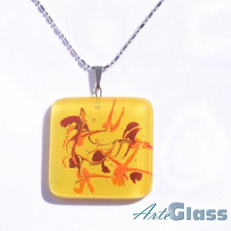 Колие единично рисувано в жълто, червено и оранжево - 3 x 3 см