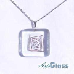 Колие единично от прозрачно стъкло с метал - 3 x 3 см