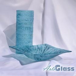 Ваза 30 см овална + купа дълбока 10 см - стъклени с мехурчета. Тюркоаз.