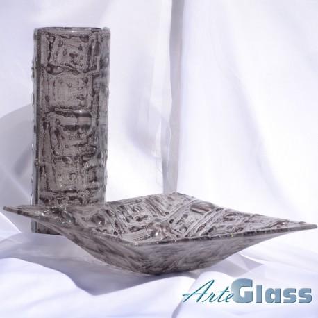 Ваза стъклена 30 см овална + купа дълбока 10 см - с мехурчета. Кафява.