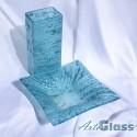 Ваза 30 см квадратна + купа дълбока 10 см - стъклена с мехурчета. Тюркоаз.