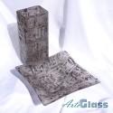Ваза 30 см квадратна + купа дълбока 10 см - стъклена с мехурчета. Кафява.