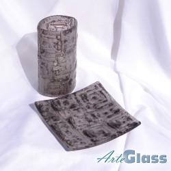 Ваза 20 см овална + купа плитка 20 см квадратна - стъклена с мехурчета. Кафява
