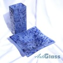 Ваза 30 см квадратна + купа дълбока 10 см - стъклена с мехурчета. Тъмносиня.