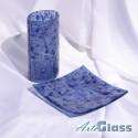 Ваза 20 см овална + купа плитка 20 см квадратна - стъклена с мехурчета. Тъмносиня.