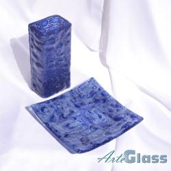 Ваза 20 см квадратна + купа  20 см квадратна плитка - стъклени с мехурчета. Тъмносиня.