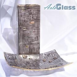 Ваза 30 см квадратна, купа дълбока 10 см, кафява, стъклена, рисувана