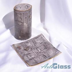 Ваза 20 см овална + купа плитка 20 см квадратна. Кафяви стъклени рисувани.
