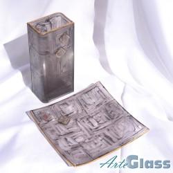 Ваза 20 см квадратна + купа  20 см квадратна плитка - стъклени рисувани. Кафяви.