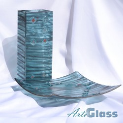 Ваза 30 см квадратна + купа дълбока 10 см - стъклена рисувана. Тюркоаз.