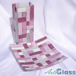 Ваза 30 см квадратна + купа 30 см квадратна, дълбока 10 см - от парчета. Виолетово и бяло.
