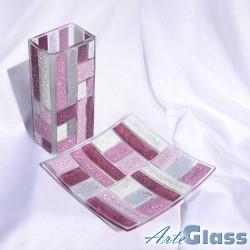 Ваза 20 см квадратна + купа  20 см квадратна плитка - от парчета. Виолетово и бяло.