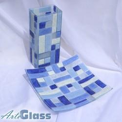 Ваза 30 см квадратна + купа 30 см квадратна, дълбока 10 см - от парчета. Тъмносиньо и бяло.