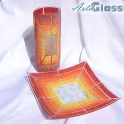 Ваза 30 см овална + купа 30 см квадратна дълбока 10 см  - от парчета. Оранжево жълто червено и бяло.