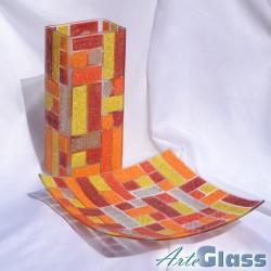 Ваза 30 см квадратна + купа 30 см квадратна, дълбока 10 см - от парчета. Оранжево жълто червено и бяло.