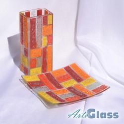 Ваза 20 см квадратна + купа  20 см квадратна плитка - от парчета. Оранжево жълто червено и бяло.