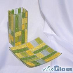 Ваза 20 см квадратна + купа  20 см квадратна плитка - от парчета. Жълто и зелено.