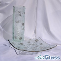 Ваза 30 см овална + купа 30 см квадратна дълбока 10 см  - прозрачна с метал и стара платина