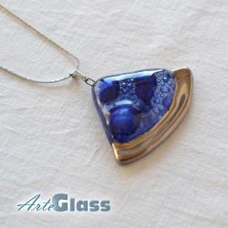 Колие синьо 3 см сектор от кръг декорирано със злато