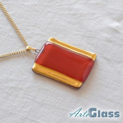 Колие кехлибар правоъгълно 3 x 5 см декорирано със злато декорирано със злато