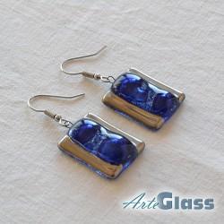 Обеци сини, 1,5 см правоъгълни декорирано със стара платина