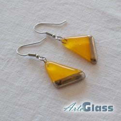 Обеци в жълт цвят, 1,5 см триъгълник декорирано със стара платина