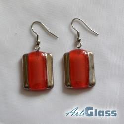 Обеци червени, 1,5 см правоъгълни декорирано със стара платина