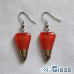 Обеци от червено стъкло, 1,5 см с форма на стрела декорирани със стара платина