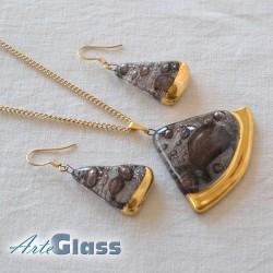 Колие и обеци кафяви, от стъкло с мехурчета.