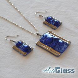 Комплект колие и обеци сини от стъкло с мехурчета, правоъгълна форма.