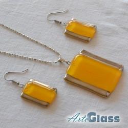 Комплект колие и обеци от жълто стъкло с мехурчета, правоъгълна форма.
