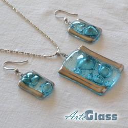 Комплект колие и обеци от тюркоазено стъкло с мехурчета, правоъгълна форма.